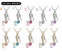 2015 külkedisi kristal kolye hayalleri cindy kristal ayakkabı kolye kolye ile kadınlar için Takı kolye zinciri D032401 #