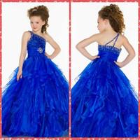 2015 ein Schulter-Blau Perlen Kristall Bodenlang Lange Kleinkind Festzug-Partei-Kleider für Mädchen Geburtstag Rüschen-Rock-Blumenmädchenkleider