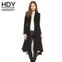 Haoduoyi hdy الخريف الشتاء المرأة أسود طويل الأكمام خندق معطف الأزياء الصوف مزيج معاطف السيدات الدافئة خندق معاطف سيدة يبلي q1109