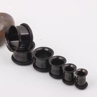 Acciaio inossidabile nero Single Flare Flesh Tunnel F21 Mix 3-14mm 200pcs / lot Tappi per le orecchie Gioielli piercing