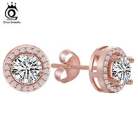 ORSA Rose Gold Earring Stud with 0. 75 ct Yellow CZ Diamond C...