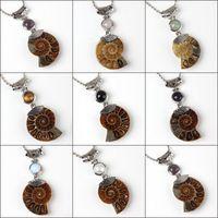 Commercio all'ingrosso 10 pz fascino argento placcato naturale druzy ammonite fossile ciondolo ametista quarzo rosa perline di pietra ciondolo gioielli per collana