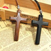 Korting houten kruis hanger ketting vintage kralen lederen snoer trui keten mannen vrouwen sieraden handgemaakte stijlvolle 15 stks