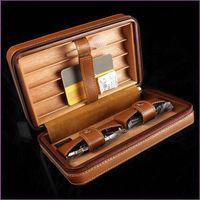 Bester Verkaufstrend der Spitzenqualität COHIBA vier Satz Zigarrenetui Leder Portable Zigarre Humidor schließen Zigarrenschere und Feuerzeuge ein