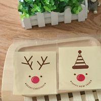 Paquet de 100 auto-adhésif Joint sac d'impression de Noël Reindeers sac de rangement Cookie savon cadeau OPP sac 10x10 + 3cm