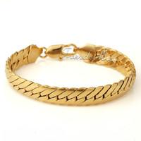 Al por mayor - 11MM MENS BOYS cadena CERRAR CURB Enlace pulsera cubana 18K Gold Filled Pulsera 18KGF regalo de la joyería GB35