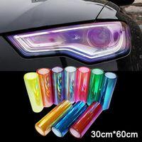 Gratis frakt 30 * 60 cm glänsande kameleon auto bil styling strålkastare baklyktor genomskinlig film ljus bil film klistermärke