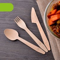 Disposable Wood Western Spoon Fork Knife Eco Friendly Desser...