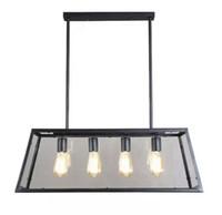 Retro Rustikale Schmiedeeisen Schwarz Kronleuchter Licht Rechteck Loft Pendelleuchte Vintage Industrie Glas Box Pendelleuchte Esszimmer Bar Lampe