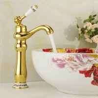Free shipping high end gold bathroom faucet with blue and wh...