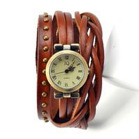 2015 numero romano donne orologi in pelle da uomo signore vestito da donna orologi femminile rivetto wrap quarzo braccialetto intrecciato orologio W1355