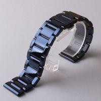 새로운 유행 나비 버클 버클 배치 시계 밴드 20mm 22mm 유행 똑똑한 시계를위한 세련된 스테인리스 시계 밴드