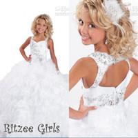 2015 кристаллы бисером Pageant платья для маленьких девочек Ritzee спагетти ремни роскошные оборками длина пола цветочница маленькие вечерние платья