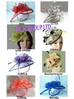 ÜCRETSİZ KARGO! Düğün / kilise / yarış / parti, 8 renk için Tüy ile ÖZEL Şekil SICAK Sinamay Fascinator şapka