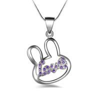 Frete grátis moda de alta qualidade 925 coelho de prata com diamante Roxo jóias 925 colar de prata Presentes do feriado do Dia Dos Namorados Quente 1678