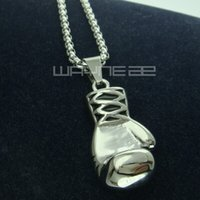 N243B- women Gold GF Stainless steel boxing glove Pendant Fre...