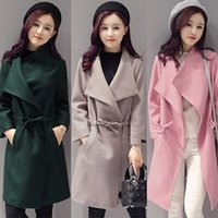 Women' s Winter Long Wool Coat Drape- Front Long Sleeve W...