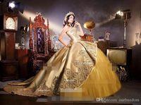 Dorado de lujo Embrodiería Apliques Quinceañera Vestidos Cariño Cuello Detachable Ruffles Falda Sweet 16 Fiesta de Cumpleaños Pagueant Vestidos