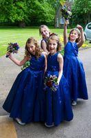 Royal Blue Платье Девушки Цветка Длиной До Пола Бальное Платье Ручной Работы Цветок Атлас Прекрасные Девушки Свадебные Платья На Заказ Размер