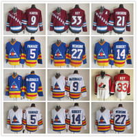 Colorado Avalanche 5 Rob Ramage 9 Lanny McDonald 33 Patrick Roy 14 Rene Robert Peter Forsberg John Wensink Jerseys Hockey Vintage