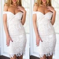 2017 Sexy Lace Off The Ramię Krótkie sukienki koktajlowe Tanie Mini Homcoming Party Dresses Evening Wear Custom Made China EN102715