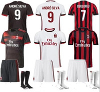 Adult suit + socks 17- 18 AC MILAN Mens Home Away third Socce...