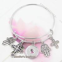 Nouvelle arrivée de mode bricolage bracelets de fils interchangeables religieux foi croix main de fatima charmes bricolage bouton pression bracelets bijoux