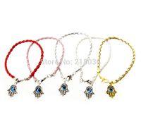 50 Pcs Mode Vintage OrArgent Hamsa Mal Main Fatima Charmes Mélanger Weave En Cuir Bonne Chance Braclets Bracelets Bijoux L377