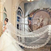 5 metros de velos de novia solitarios con apliques de encaje borde de longitud de catedral de tul velos nupciales en Stock accesorios de la boda envío gratis