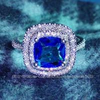 Luxus-Größe 6-10 Schmuck Swarovski Kristall Sterlingsilber 925 gefüllt Dame Hochzeit Frauen Verlobungsring Geschenk mit Kasten