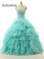2015 Sexy Hot sale Blue Organza Ball Gown Quinceanera Dresse...
