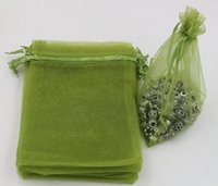Vendita calda! Borsette da regalo per gioielli in organza verde militare per bomboniere, perline, gioielli 7x9cm 9x11cm 13 x 18 cm ecc. (365)