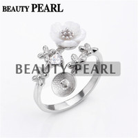 5 Pieces Pearl Ring Mounting 925 Sterling Silver Findings Fl...