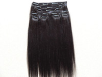 brazilian human clips in hair extensions straight light yaki...