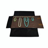 Портативный дисплей ювелирного чехла для ожерелья путешествия ювелирных изделий Ролла сумка Brown PU кожи для 16шта Браслет чехла для хранения Бесплатной доставки