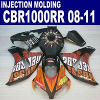 射出成形プラスチックフェアリングキットホンダCBR1000RR 2008-2011 CBR 1000RRマットブラックオレンジレポールボディワークフェアリング08 09 10 11 #U8