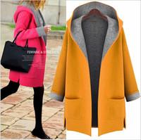 도매 - 뜨거운 판매 겨울 코트 여성 느슨한 모직 짙은 코트 모자와 함께 쉽게 일치하는 자켓 겨울 자켓 여성 양모 코트