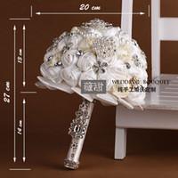 Bej ve Beyaz Düğün Buketleri Custom Made El Yapımı Yapay Güller Kristal Rhinestone Inciler Ile Gelin Çiçekleri Düğün Malzemeleri