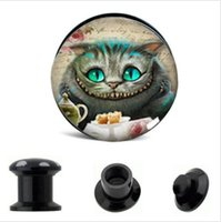 Lovly blue cat picture ear gauges mix size 64pcs flesh tunne...