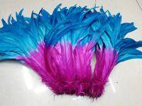 O envio gratuito de 100 pçs / lote 12-14 polegada rosa quente com cor turquesa COQUE galo pena solto para a decoração do partido decoração traje