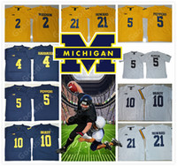 Молодежь NCAA Мичиган Росомахи Джерси 4 HARBAUGH 10 BARDY 21 HOWARD 2 WOODSON 5 PEPPERS KID Футбольные Jerseys HOT