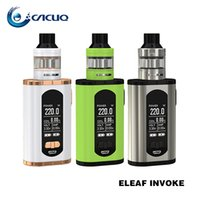 Eleaf Invoke Kits de iniciación e cigarrillo 220W Invoke TC 18650 Vape Mod 1.3inch Display 2 ml / 4 ml Ello T Vape Large Air Inlets 100% Origina
