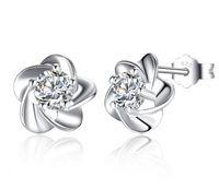 925 Sterling Silver Stud Earrings Bijoux De Mode Cinq Feuilles Fleur avec Zircone Cristal Style Élégant Boucle D'oreille pour les Femmes Filles
