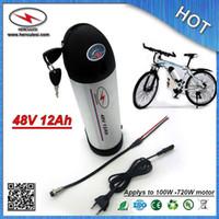 Botella recargable de aluminio con batería de iones de litio 48V 12Ah para bicicletas eléctricas con 18650 3.7V celda 15A BMS y cargador