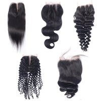 Brazilian Virgin Human Hair 4x4 Lace Closures Straight Deep ...
