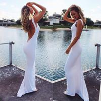 Il trasporto libero 2020 nuovo abito da sposa bianco Spandex Scoop pavimento del fodero di lunghezza Backless aperto basso indietro sexy Long Beach abiti da sposa