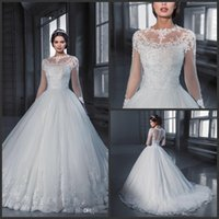 Свадебное платье Vestido De Noiva Princess с длинным рукавом и кружевными свадебными платьями 2019 New See Through Тюль Винтажное свадебное платье Robe De Mariage 458