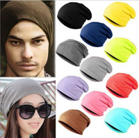 Candy Color Solid Head Hat Men Women Turban Hats Warm Hip- Ho...
