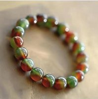 Free Ship ping on Natural Multicolor Chalcedony Beaded Bracelet