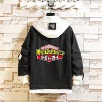 Men's Hoodies & Sweatshirts 2021 Anime My Hero Academia Deku Layered Pullover Hooded Sweatshirt Colorblock Streetwear Fake Two-Piece Female